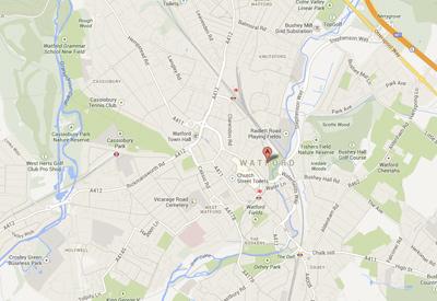 Watford Coach Hire Map