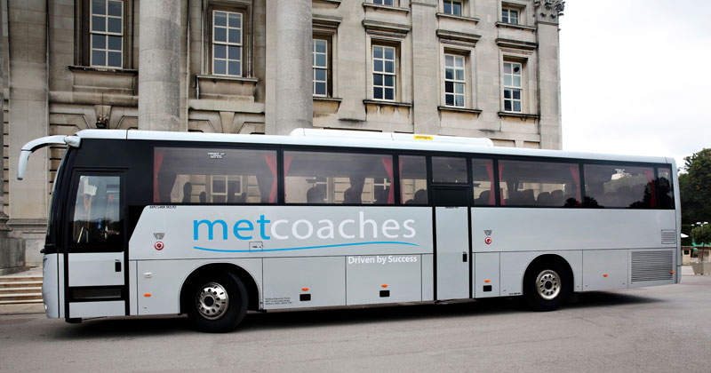 Side view of MET Coaches coach