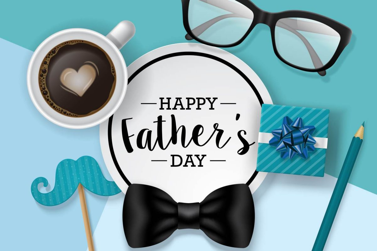 Fathers day illustration - bow tie, blue ribboned gift box, cup of coffee and black framed glasses decorate the image