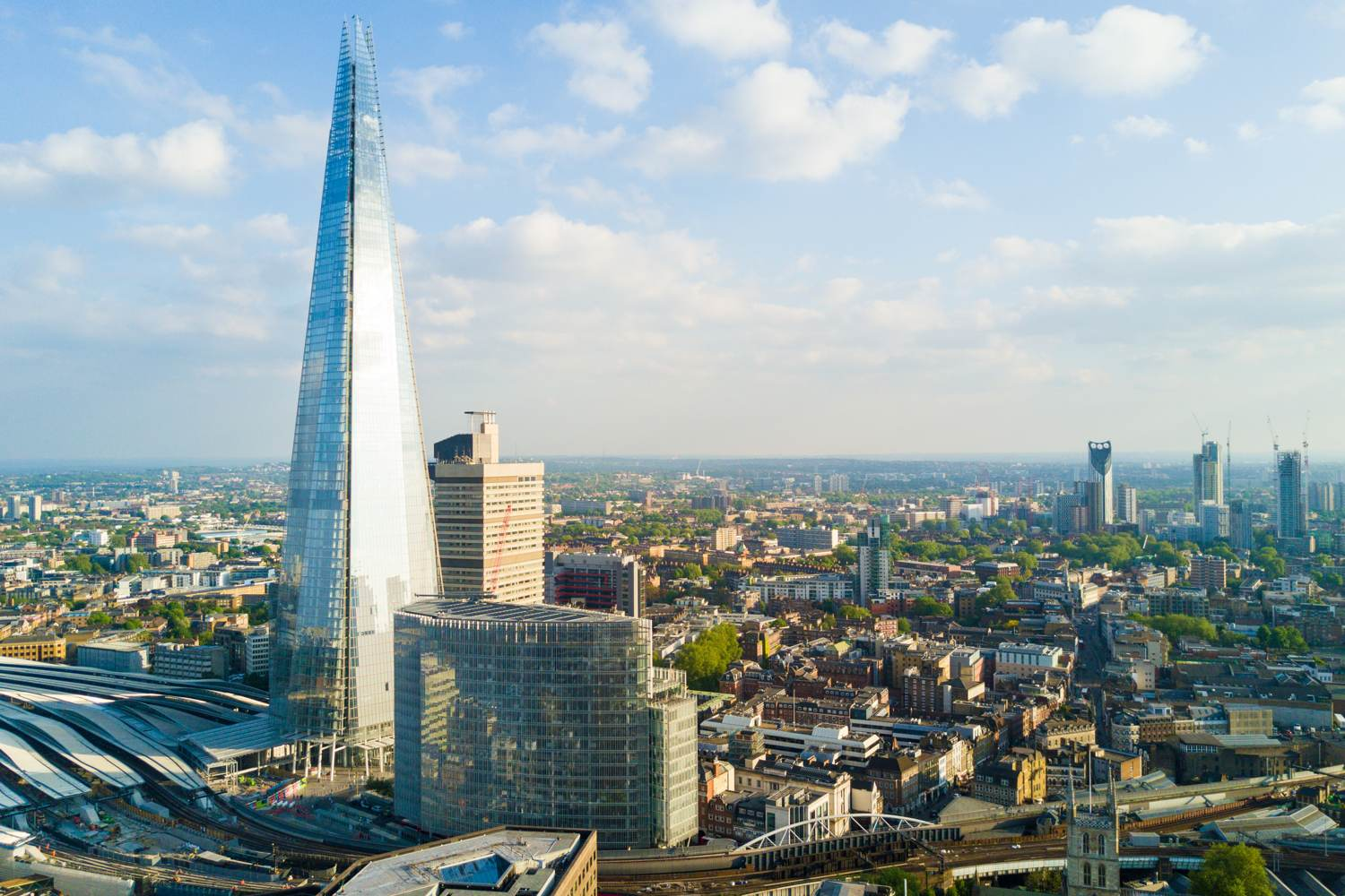 View of the Shard in London on a sunny day