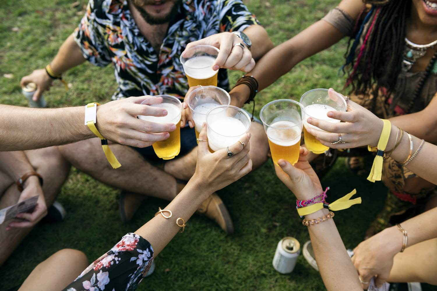 Friends drinking beer at a beer festival