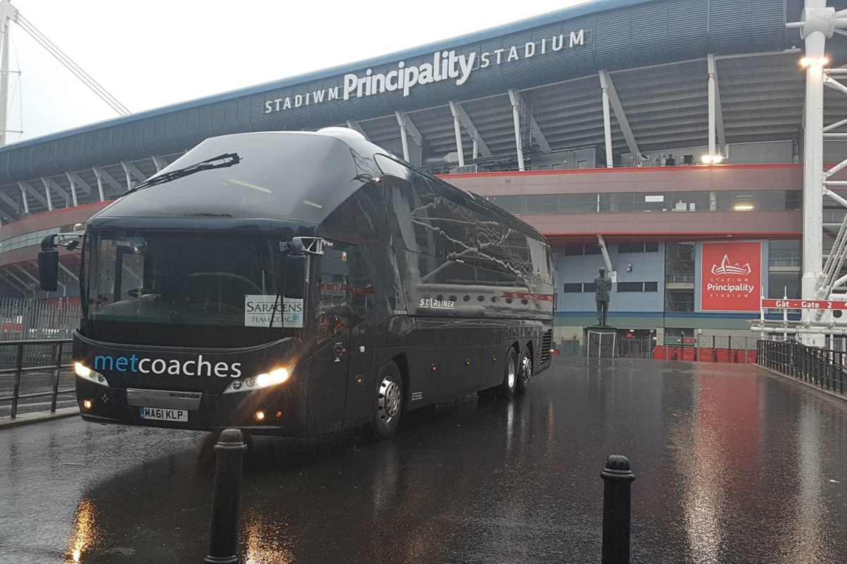 Saracens coach outside Principality Stadium
