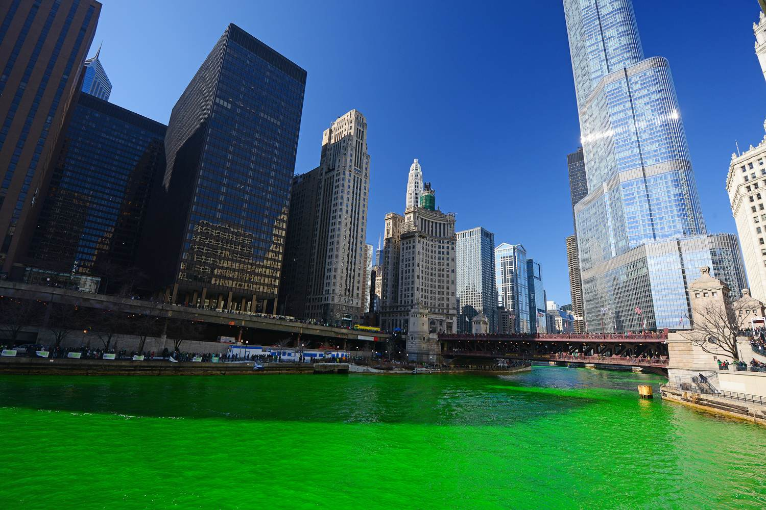 Chicago River on St Patrick's Day