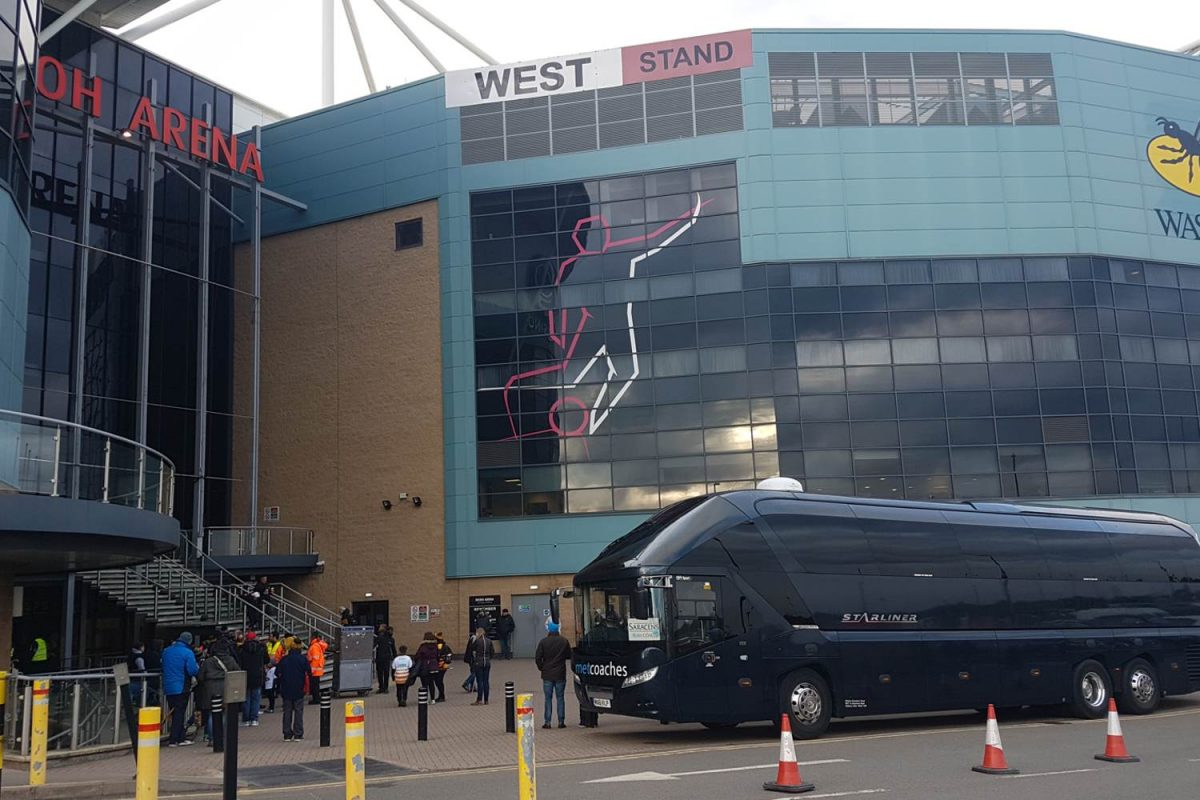 MET Coaches outside Wasps Arena stadium for Saracens match
