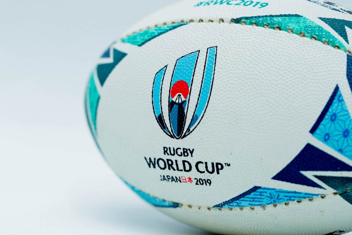 Rugby ball with Rugby World Cup 2019 printed on it