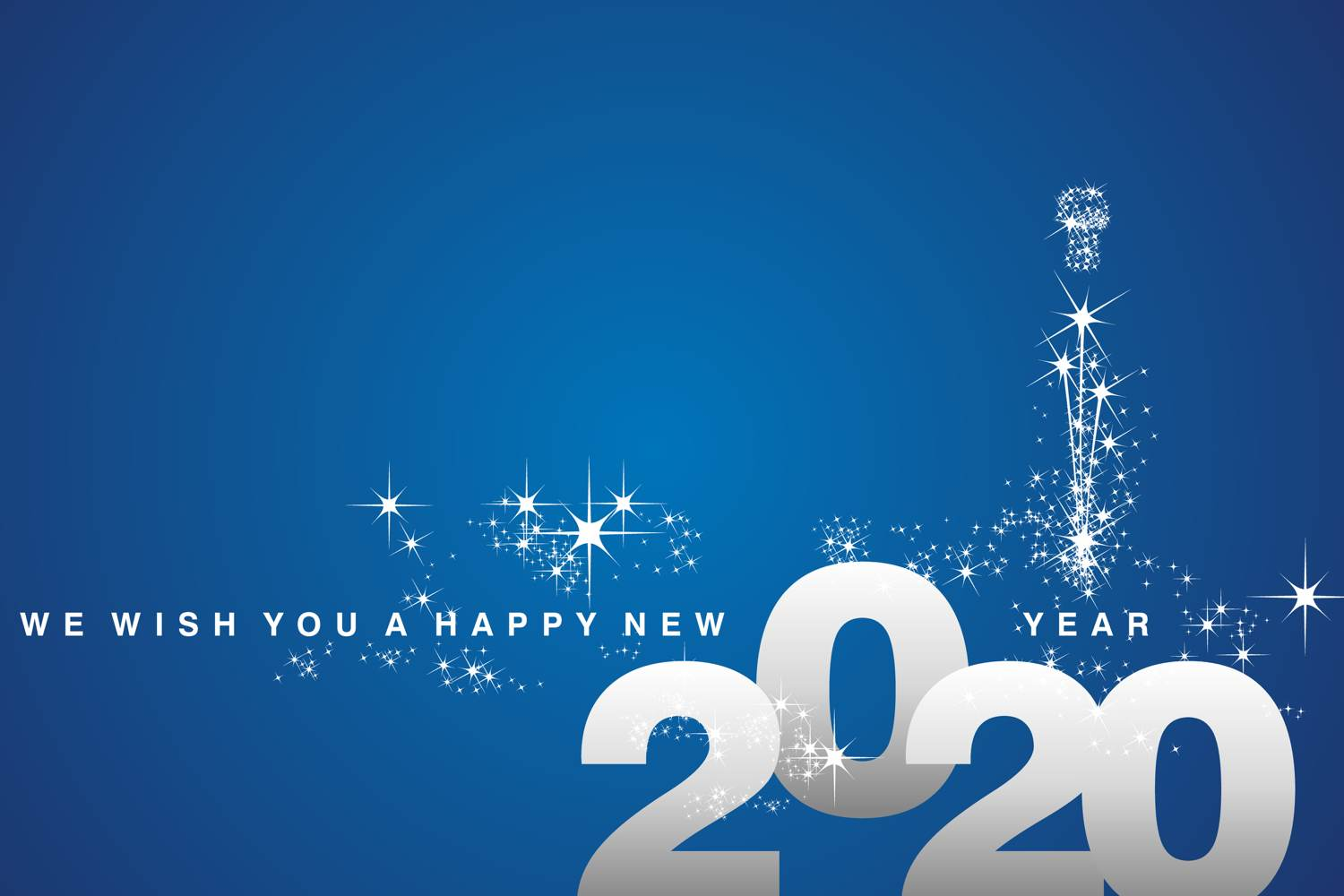 Happy new year in white font - blue background - sparkly stars decorating image