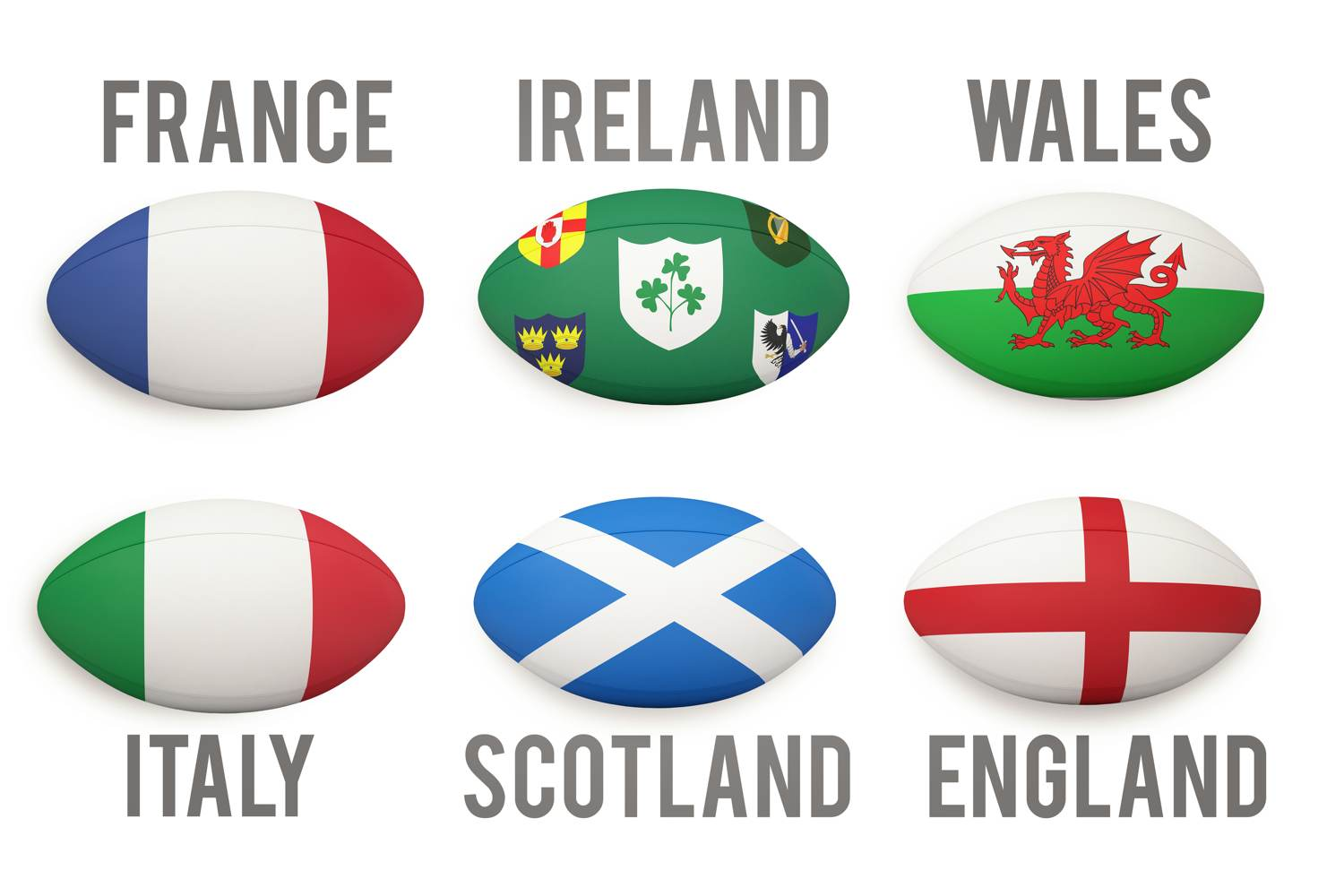 Rugby balls with Six Nations participants flags on them
